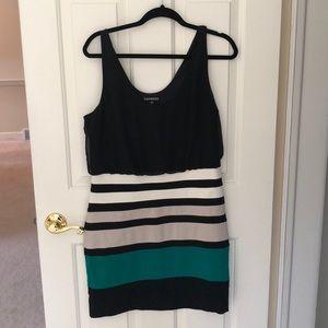 Express body flatter color block dress. Sz L